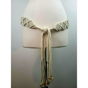 Macrame Tie Boho Belt Beaded Fringe L/XL Fits 37""